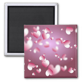 hearts background 2 inch square magnet