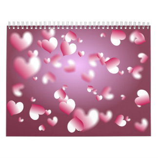 Hearts Background Calendar