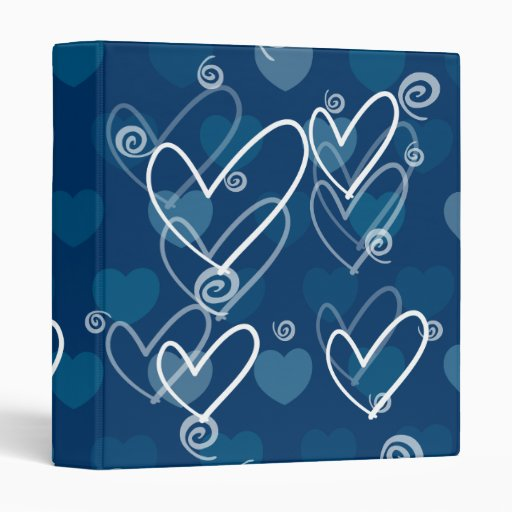 Hearts background in blue, binder