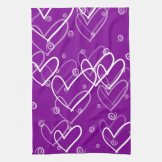 Hearts background in purple, kitchen towel