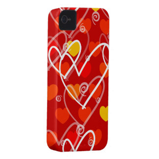 Hearts background in red, iPhone case