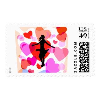 Hearts ballroom dancer postage stamps