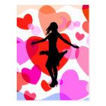 Hearts ballroom dancer postcard