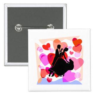 Hearts ballroom dancing pinback button