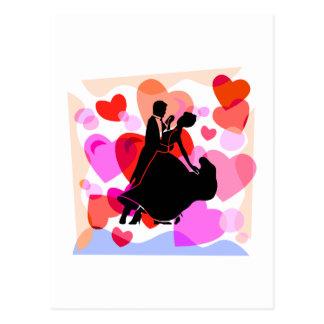Hearts ballroom dancing postcard