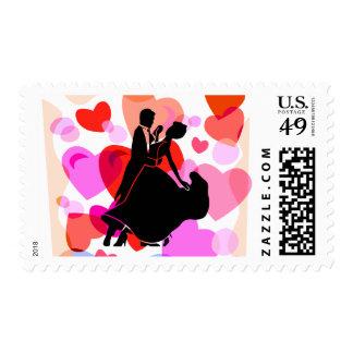 Hearts ballroom dancing stamp