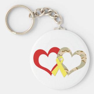 Hearts Basic Round Button Keychain