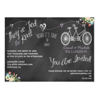 Hearts & Bicycle Chalkboard Post Wedding Invite