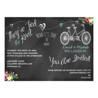 Hearts Bicycle Chalkboard Post Wedding Invite Announcement