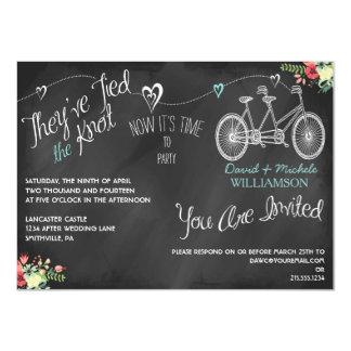"Hearts & Bicycle Chalkboard Post Wedding Invite 4.5"" X 6.25"" Invitation Card"