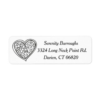 Hearts Black And White Love - Wedding, Engagement Label