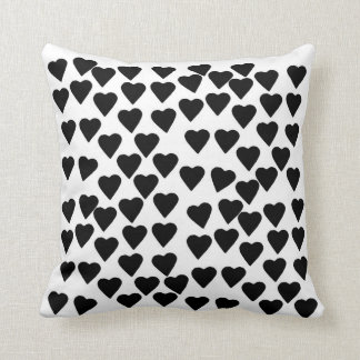 Hearts Black and White Throw Pillows