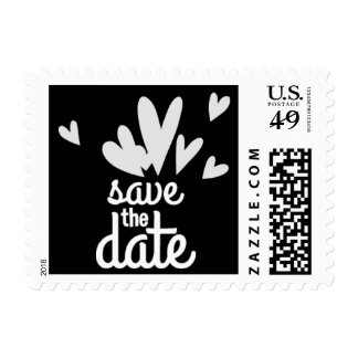 Hearts Black Save the Date Postage