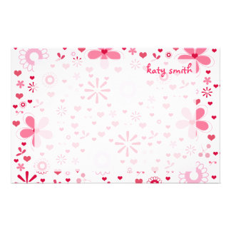 Hearts & Blossoms Personalized Stationery