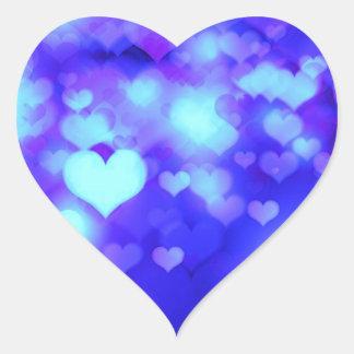 Hearts Bokeh Light Background blue Heart Sticker