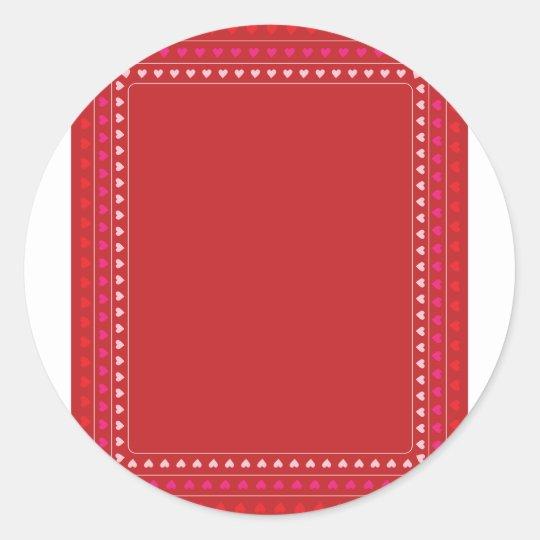 Hearts Border Classic Round Sticker