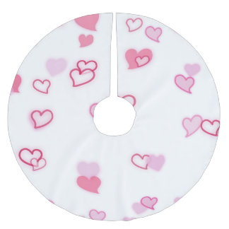 Hearts Brushed Polyester Tree Skirt