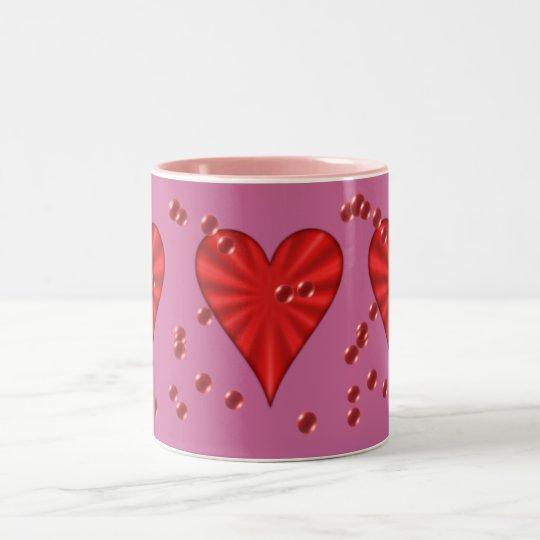 Hearts & Bubbles (on Pink) Two-Tone Coffee Mug