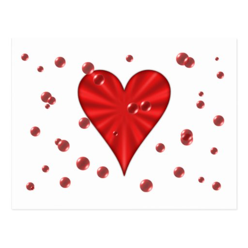 Hearts & Bubbles (White) Postcard