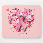 HEARTS, BUTTERFLIES AND PINK RIBBON MOUSE PAD