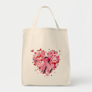 HEARTS, BUTTERFLIES AND PINK RIBBON TOTE BAG