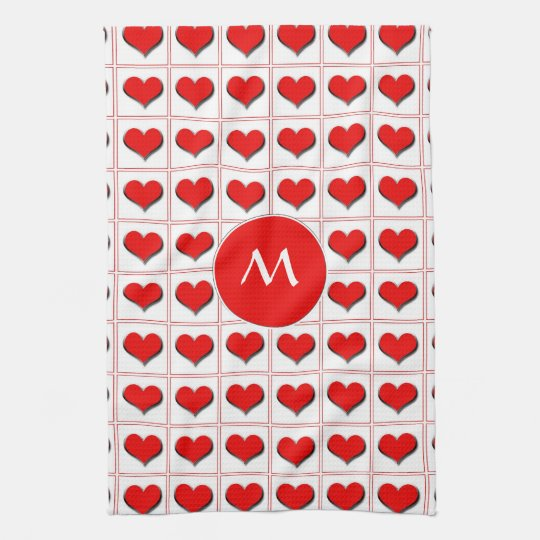 Hearts card suit with monogram towel