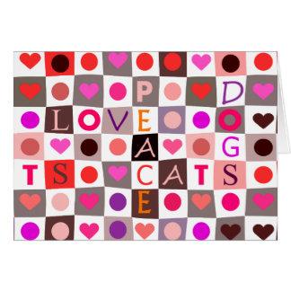 Hearts Cat & Dog Love Card