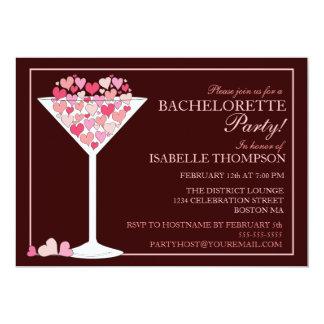 """Hearts Champagne Martini Bachelorette Party 5"""" X 7"""" Invitation Card"""