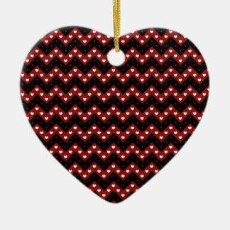 Hearts Chevron Ceramic Ornament