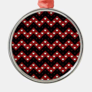 Hearts Chevron Metal Ornament