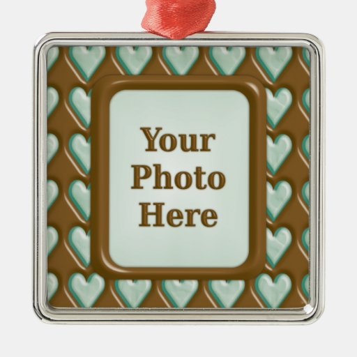Hearts - Chocolate Mint Square Metal Christmas Ornament