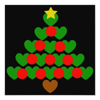 """Hearts Christmas Tree Holiday Party Invitations 5.25"""" Square Invitation Card"""
