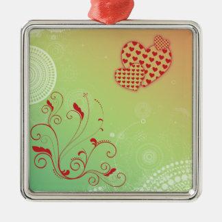 Hearts & Circles Metal Ornament