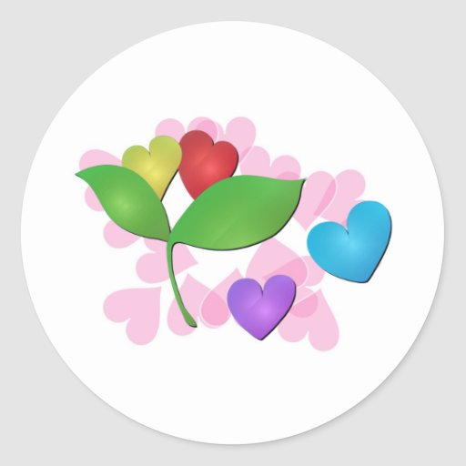 Hearts Classic Round Sticker