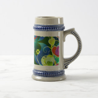 Hearts, Clovers and Flowers in Abstract Art 18 Oz Beer Stein