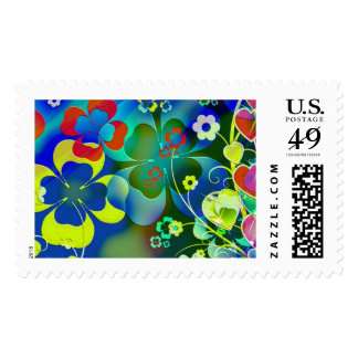 Hearts, Clovers and Flowers in Abstract Art Postage Stamp