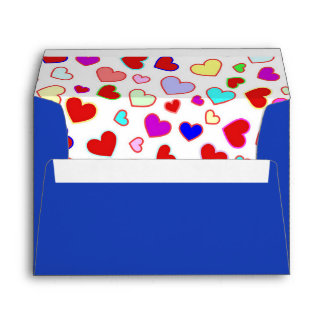 Hearts Colorful Multi on White Blue A7 Envelope