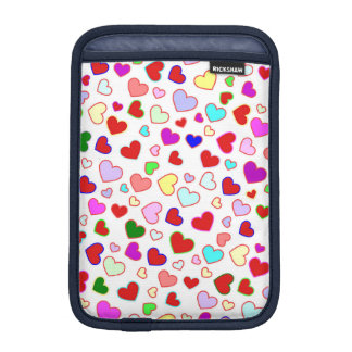 Hearts Colorful Multi on White iPad Mini Sleeve