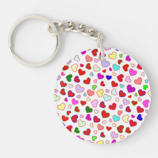 Hearts Colorful on White Round Acrylic Keychain