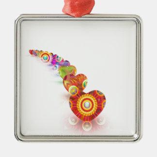 Hearts Colors Line Metal Ornament