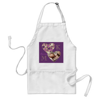 Hearts Customizable Photo Frame Deep Purple Gold Adult Apron