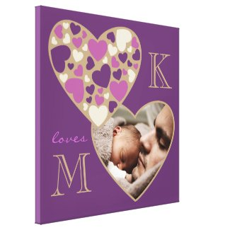 Hearts Customizable Photo Frame Deep Purple Gold Gallery Wrap Canvas