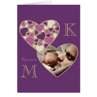 Hearts Customizable Photo Frame Deep Purple Gold Cards