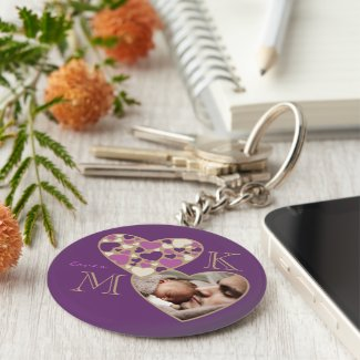 Hearts Customizable Photo Frame Deep Purple Gold Keychains