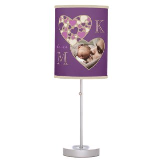 Hearts Customizable Photo Frame Deep Purple Gold Table Lamps