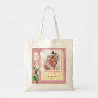 Hearts & Daisies Baby Girl Photo Keepsake Canvas Bag