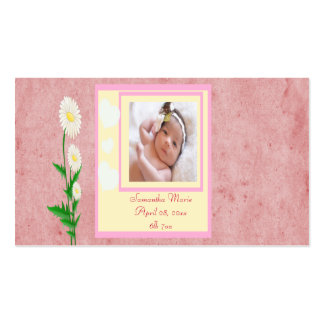 Hearts & Daisies Baby Girl Photo Keepsake Business Card Template