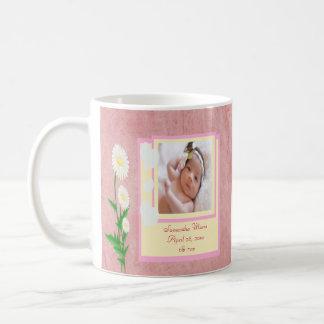 Hearts & Daisies Baby Girl Photo Keepsake Classic White Coffee Mug