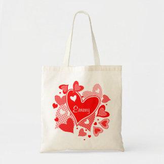 Hearts de Valentine's nombrada Bolsa Tela Barata