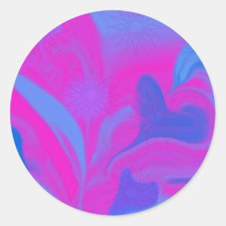 hearts digital purple 3 classic round sticker
